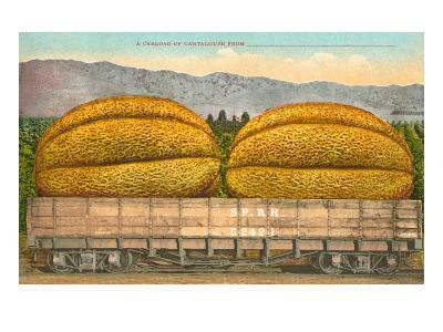 Giant Cantaloupe in Rail Car--Art Print