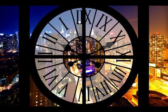 Giant Clock Window - City View at Night - New York-Philippe Hugonnard-Photographic Print