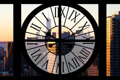 Giant Clock Window - City View at Sunset - New York City-Philippe Hugonnard-Photographic Print