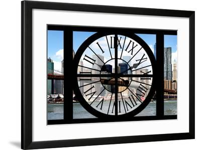 Giant Clock Window - City View with Brooklyn Bridge - New York City II-Philippe Hugonnard-Framed Photographic Print