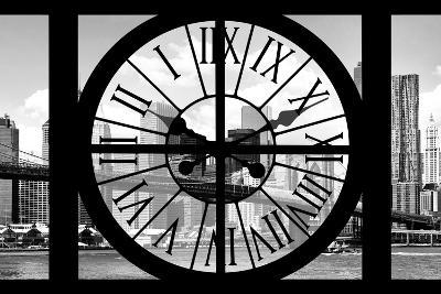 Giant Clock Window - City View with Brooklyn Bridge - New York City III-Philippe Hugonnard-Photographic Print