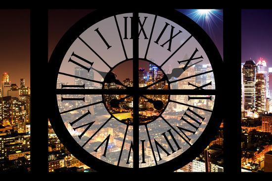 Giant Clock Window - Night View of Manhattan - Hell's Kitchen-Philippe Hugonnard-Photographic Print