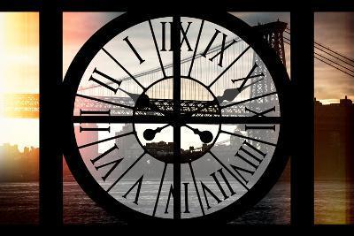 Giant Clock Window - Night View of the Williamsburg Bridge-Philippe Hugonnard-Photographic Print