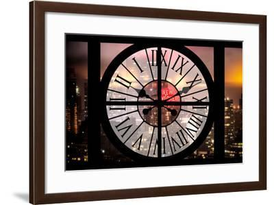 Giant Clock Window - Night View on the New Yorker Hotel with Foggy-Philippe Hugonnard-Framed Photographic Print