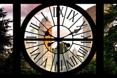 Giant Clock Window - View of Central Park Buildings at Sunset IV-Philippe Hugonnard-Photographic Print