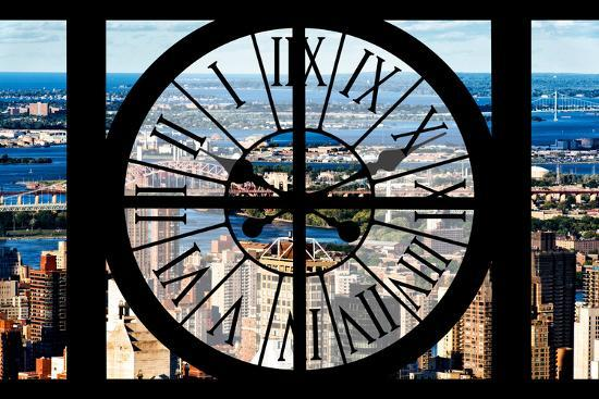 Giant Clock Window - View of Harlem - New York-Philippe Hugonnard-Photographic Print