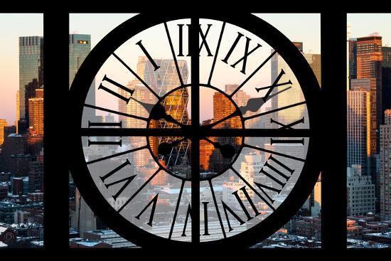 Giant Clock Window - View of Hell's Kitchen in Winter - Manhattan-Philippe Hugonnard-Photographic Print