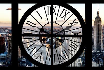 Giant Clock Window - View of Manhattan at Sunset II-Philippe Hugonnard-Photographic Print