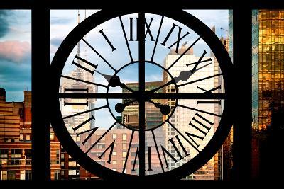 Giant Clock Window - View of Manhattan Buildings at Sunset-Philippe Hugonnard-Photographic Print