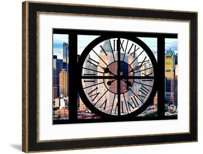 Giant Clock Window - View of Manhattan Buildings - Hell's Kitchen District III-Philippe Hugonnard-Framed Photographic Print