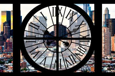 Giant Clock Window - View of Manhattan Buildings - Hell's Kitchen District-Philippe Hugonnard-Photographic Print