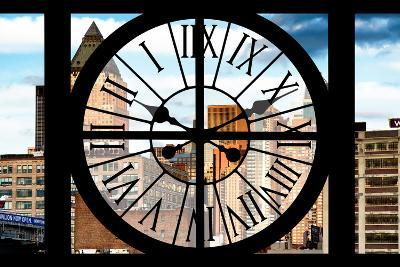 Giant Clock Window - View of Manhattan Buildings-Philippe Hugonnard-Photographic Print