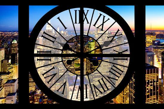 Giant Clock Window - View of Manhattan by Night-Philippe Hugonnard-Photographic Print