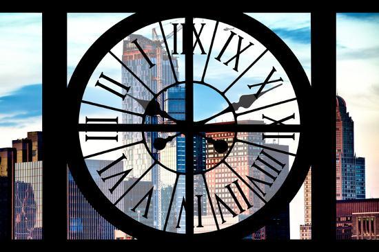 Giant Clock Window - View of Manhattan Skyscrapers-Philippe Hugonnard-Photographic Print