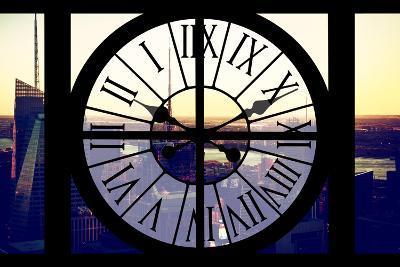 Giant Clock Window - View of Midtown Manhattan at Sunset II-Philippe Hugonnard-Photographic Print