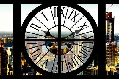 Giant Clock Window - View of New York City at Sunset-Philippe Hugonnard-Photographic Print