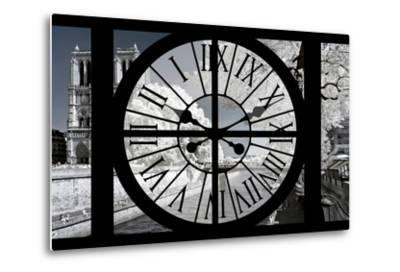 Giant Clock Window - View of Notre Dame Cathedral with White Trees - Paris-Philippe Hugonnard-Metal Print