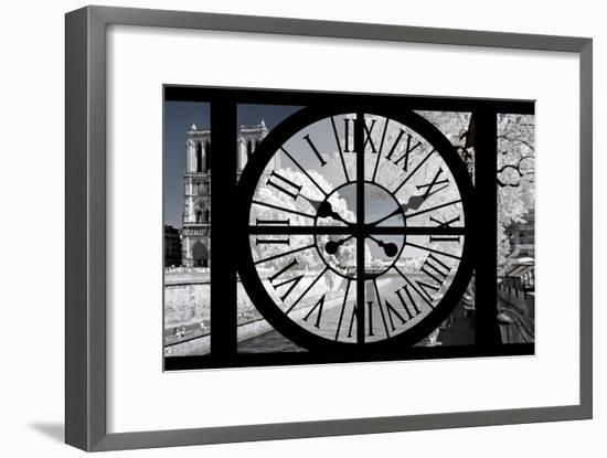 Giant Clock Window - View of Notre Dame Cathedral with White Trees - Paris-Philippe Hugonnard-Framed Photographic Print