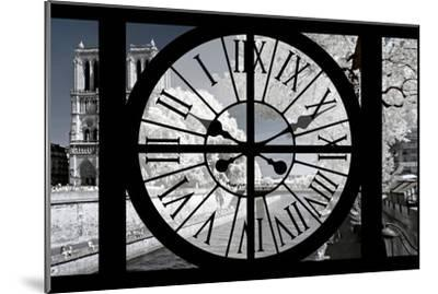 Giant Clock Window - View of Notre Dame Cathedral with White Trees - Paris-Philippe Hugonnard-Mounted Photographic Print