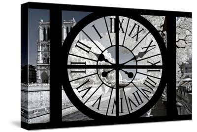 Giant Clock Window - View of Notre Dame Cathedral with White Trees - Paris-Philippe Hugonnard-Stretched Canvas Print