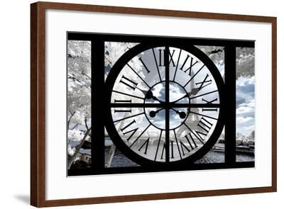 Giant Clock Window - View of the Eiffel Tower with White Trees II-Philippe Hugonnard-Framed Photographic Print