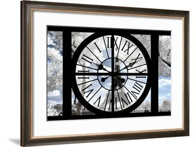 Giant Clock Window - View of the Eiffel Tower with White Trees III-Philippe Hugonnard-Framed Photographic Print