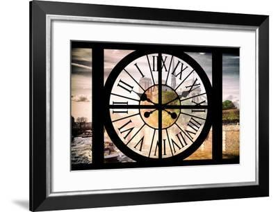 Giant Clock Window - View of the Notre Dame Cathedral in Paris-Philippe Hugonnard-Framed Photographic Print