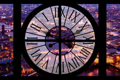 Giant Clock Window - View on the City of London by Night V-Philippe Hugonnard-Photographic Print