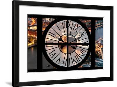 Giant Clock Window - View on the City of London with the Tower Bridge by Night IV-Philippe Hugonnard-Framed Photographic Print