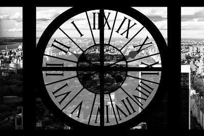 Giant Clock Window - View on the New York City - B&W Central Park-Philippe Hugonnard-Photographic Print
