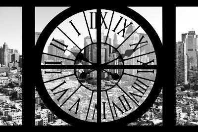 Giant Clock Window - View on the New York City - B&W Hell's Kitchen District-Philippe Hugonnard-Photographic Print