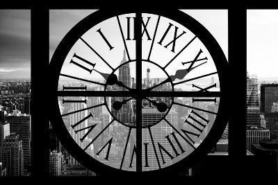 Giant Clock Window - View on the New York City - B&W Manhattan-Philippe Hugonnard-Photographic Print