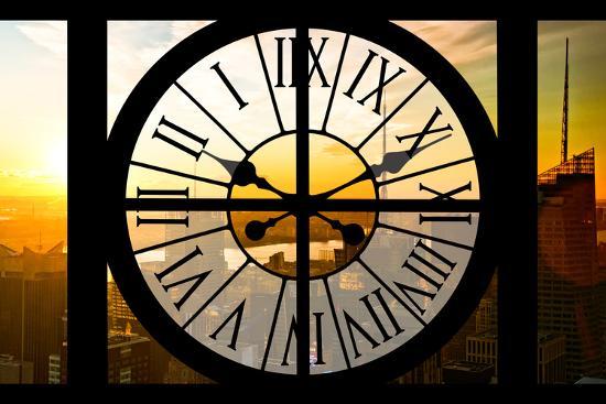 Giant Clock Window - View on the New York City - Beautiful Sunset II-Philippe Hugonnard-Photographic Print