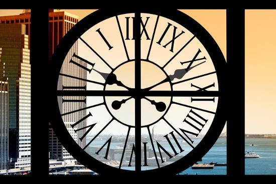 Giant Clock Window - View on the New York City - East River at Sunset-Philippe Hugonnard-Photographic Print