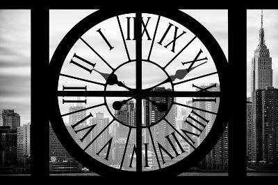 Giant Clock Window - View on the New York City - The Empire State-Philippe Hugonnard-Photographic Print