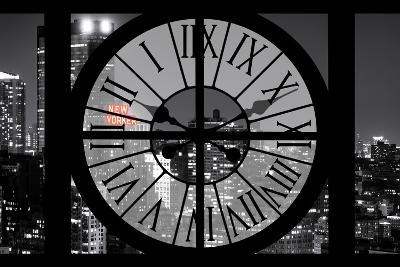 Giant Clock Window - View on the New York City - The New Yorker Red Sign-Philippe Hugonnard-Photographic Print