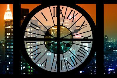 Giant Clock Window - View on the New York City - The New Yorker Sign-Philippe Hugonnard-Photographic Print