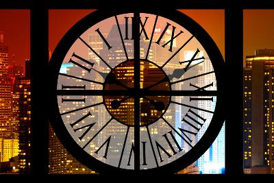 Giant Clock Window - View on the New York City - Times Square by Night-Philippe Hugonnard-Photographic Print