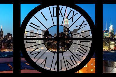 Giant Clock Window - View on the New York Skyline at Dusk II-Philippe Hugonnard-Photographic Print