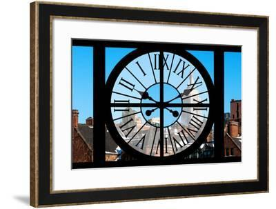 Giant Clock Window - View on the New York with the Empire State Building in Winter V-Philippe Hugonnard-Framed Photographic Print