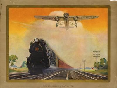 Giant Conquerers of Space and Time Pennsylvania Railroad--Giclee Print
