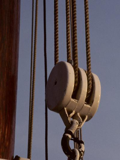 Giant Nautical Pulleys Help Leverage Heavy Sails on a Sailing Ship-Stephen St^ John-Photographic Print