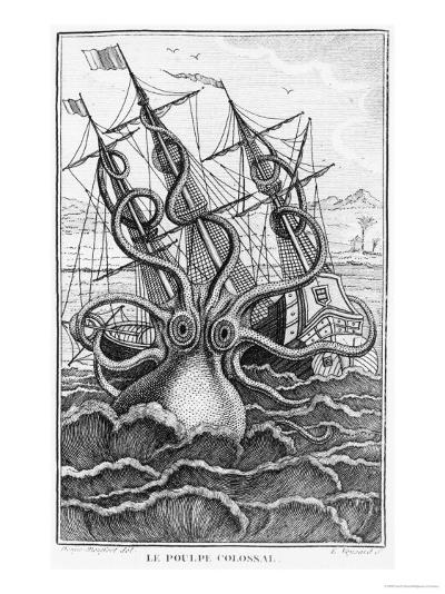 "Giant Octopus, Illustration from ""L'Histoire Naturelle Generale Et Particuliere Ses Mollusques""--Giclee Print"