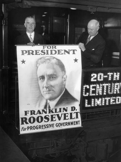 Giant Poster of New York Governor Franklin Roosevelt, Candidate for Democratic Pres Nomination--Photo