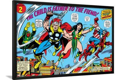 Giant-Size Avengers No.1 Group: Thor, Captain America, Iron Man, Vision and Mantis Flying-Rich Buckler-Lamina Framed Poster