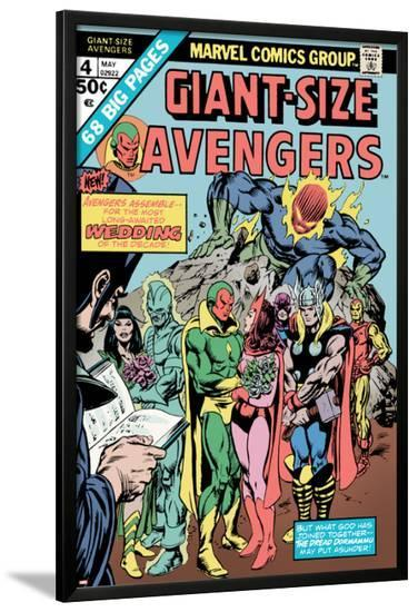 Giant-Size Avengers No.4 Cover: Vision, Scarlet Witch, Thor, Iron Man and Dormammu-Don Heck-Lamina Framed Poster