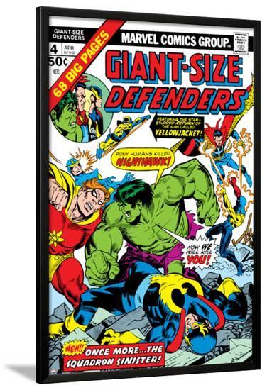 Giant-Size Defenders No.4 Cover: Hulk, Dr. Strange, Hyperion, Dr. Spectrum and Nighthawk Fighting-Don Heck-Lamina Framed Poster