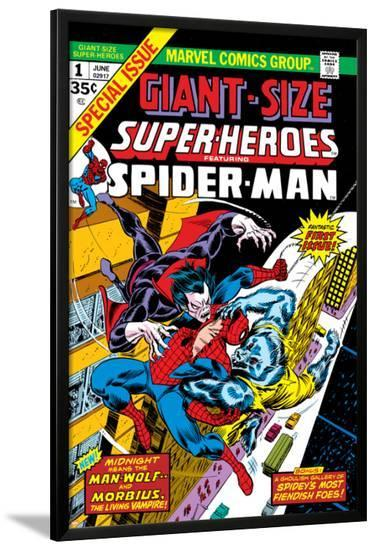 Giant-Size Super-Heroes No.1 Cover: Spider-Man, Morbius and Man-Wolf Fighting-Gil Kane-Lamina Framed Poster