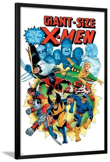 Giant-Size X-Men No.3 Cover: Wolverine, Cyclops, Nightcrawler and Sunfire Charging-Dave Cockrum-Lamina Framed Poster