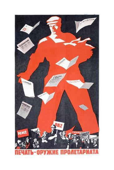 Giant Soviet Workder Distributing Communist Newspapers--Giclee Print